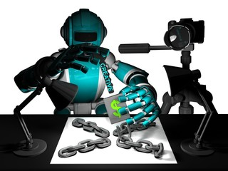 3D Photographer Robot Turquoise Color, How Use A Creativity To Open The Success in Photography, Key Of Creative