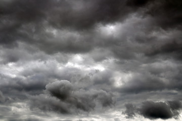 Storm clouds before a thunderstorm. Cloudy sky over horizon.