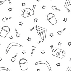 Seamless pattern dark grey children's crayon drawings on white background. Hand-drawn style. Seamless vector wallpaper with the image of kite flying, head, boomerang, star, bucket, shovel, rake
