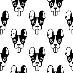 Seamless pattern with head of the french bulldog. Black and white vector illustration isotaled on white