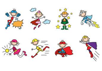 super hero stick figures