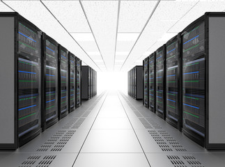 Rows of blade server system in data center. 3D rendering image.