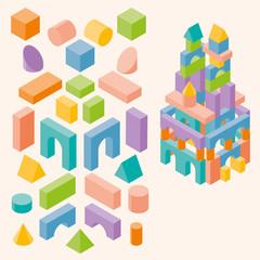 Colored building blocks for children. Vector set. 3d Isometric  illustration