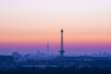 Berlin Sykline and colorful sky in the morning before sunrise