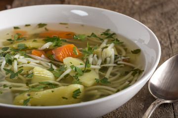 Soup with handmade noodles
