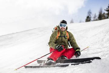 Austria, Turracher Hoehe, smiling skier in snow