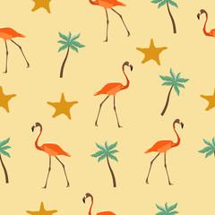 Seamless pattern flamingos, palm trees and starfish