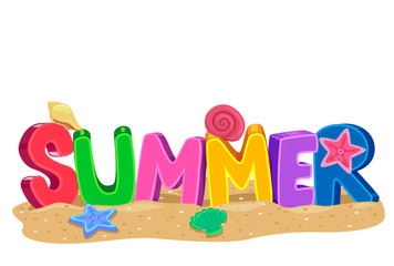 Vector Illustration of Summer 3D letters with Elements