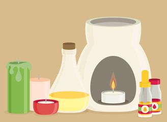 Vector aromatherapy equipment icons set, flat design