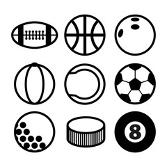 Flat and round sport icons