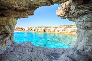 Foto op Plexiglas Cyprus Beautiful cliffs and arches in Aiya Napa, Cyprus