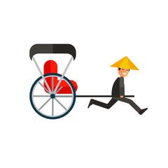 Japanese rickshaw flat icon