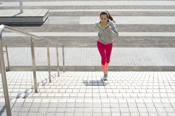Women runners ascended running the stairs