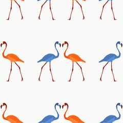 Seamless pattern beautiful flamingos in two colors