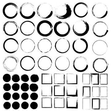 Vector set of grunge circle brush and Grunge Black Frames. Mega set