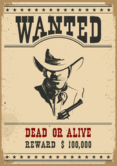 Wanted poster.Vector western illustration