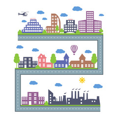 City Skylines. Landscape constructor icons set. Vector elements of town isolated on white. Set of buildings in the style of small business flat design. Road and city architecture