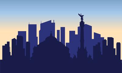 silhouette of mexico city Papier Peint