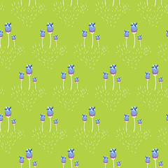 Spring wild violet flower field seamless pattern. Floral tender fine summer vector pattern on green background. For fabric textile prints and apparel.