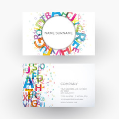 Vector abstract alphabet, concept of writer. Business card