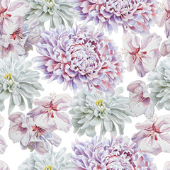 Seamless pattern with flowers. Chrysanthemum. Blossom. Watercolor.
