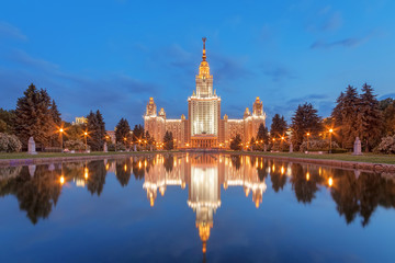 Evening reflection of the main building of Moscow State University