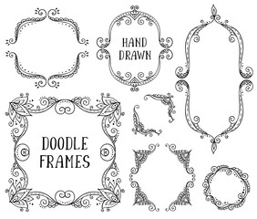 Set of hand drawn vector doodle frames on white background