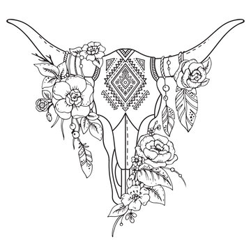 Decorative Indian bull skull with ethnic ornament,flowers and le