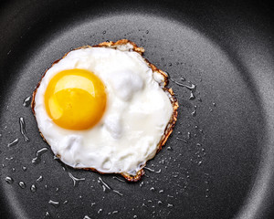 Photo on textile frame Egg Fried egg in a frying pan
