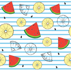 seamless pattern sliced pineapple and watermelon