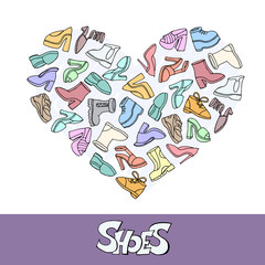 Stylized heart with hand drawn shoes. Illustration on the theme of shoes