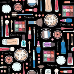 Vector seamless pattern with hand drawn decorative cosmetics for women on black color
