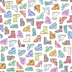Vector seamless pattern with hand drawn isolated shoes