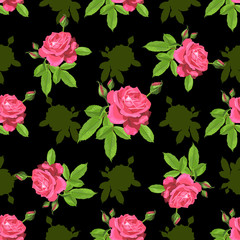 Seamless pattern with roses on a black background
