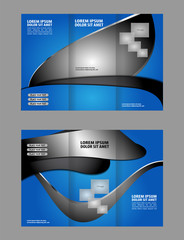 modern tri-fold template for advertising concept brochure in blue