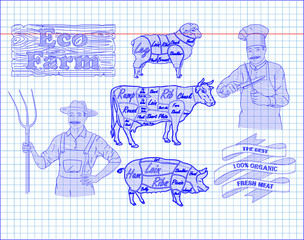 butchering beef diagram, pork, lamb and farmer, cook