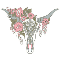 Decorative Indian bull skull with ethnic ornament, flowers and l