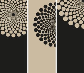3 bookmarks sunflower dots patterns black beige