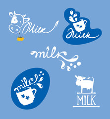 Vector illustrations -- logotype for dairy and milk