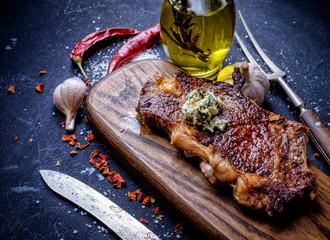 Meat Ribeye steak entrecote close up