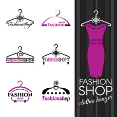 Fashion shop logo - Violet Clothes hanger vector set design