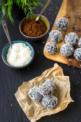Homemade Healthy Paleo Raw Chocolate Truffles with Nuts, Dates and Coconut Flakes, Vertical