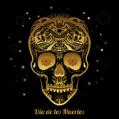 Gold ornamental sugar skull. Dia de los Muertas (Day of the Dead