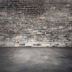 Wall Mural - Background with dark old brick wall and asphalt