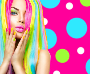 Foto op Canvas Beauty Beauty girl portrait with colorful makeup, hair and nail polish