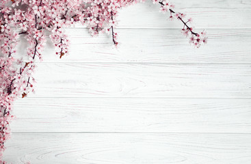 spring background. fruit flowers on wooden table