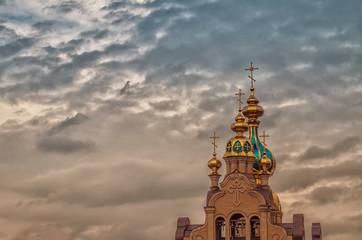 Rural church cross in sky, Kharkiv, Ukraine
