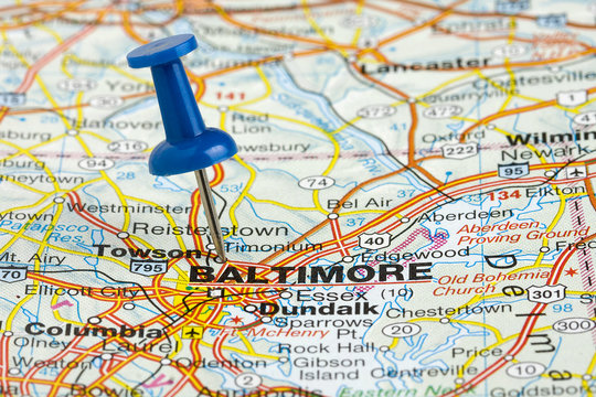 Pushpin in Baltimore Maryland USA Map