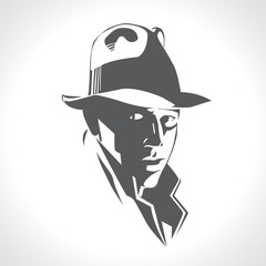 Silhouette of man in a hat and suit on white background vector. Black and white picture, retro american detective style, poster, sign usage. Illustration in style noir