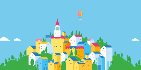 Bright old town. Colored houses. Old European city. Flat design.